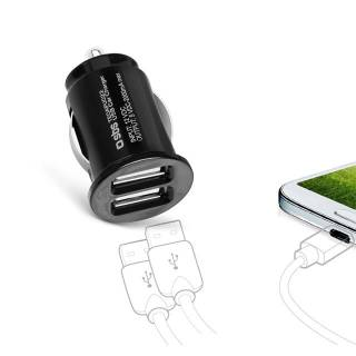 Dual USB car charger for mobile phones and smartphones